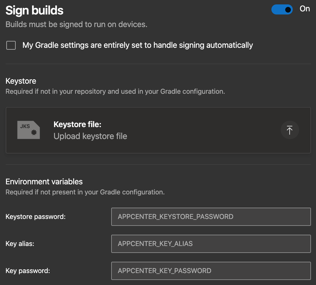 After automating your app's build process, you need to sign it with a keystore in order to distribute the build version to testers and users