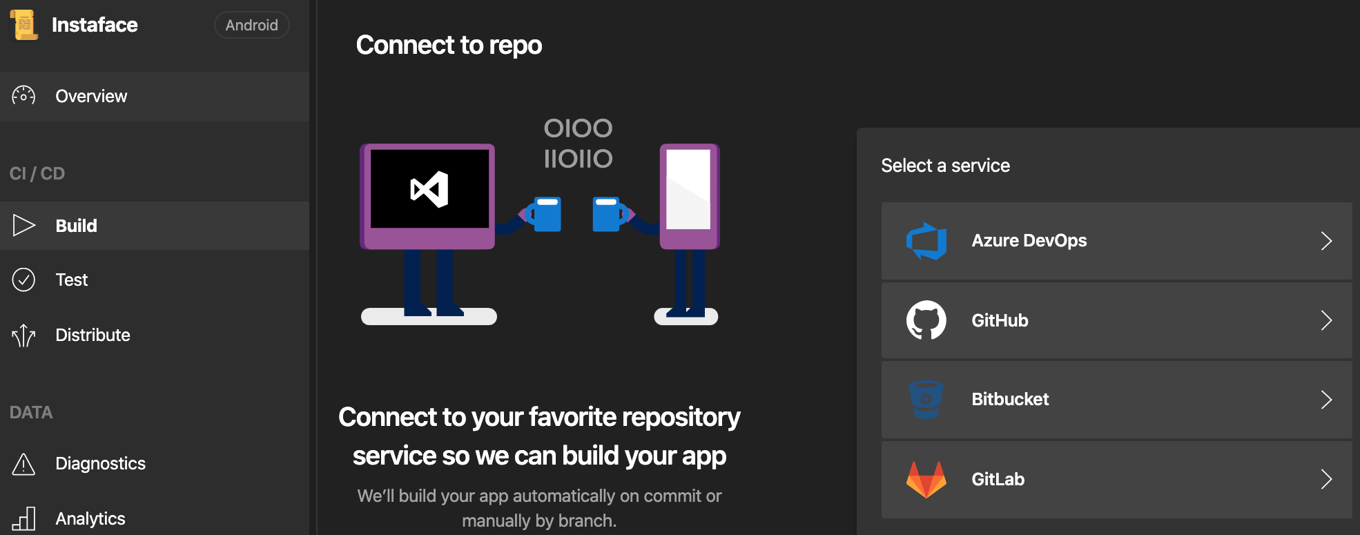 Select Build section on the left menu, then select your repository service
